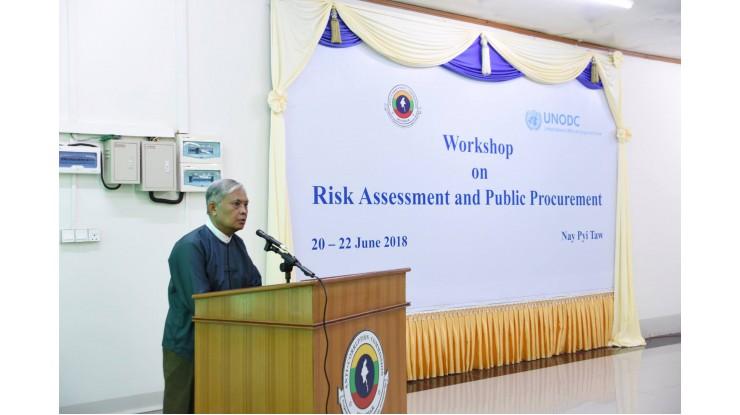 အဂတိလိုက်စားမှုတိုက်ဖျက်ရေးကော်မရှင် နှင့် မူးယစ်ဆေးဝါးနှင့် ပြစ်မှုဆိုင်ရာ ကုလသမဂ္ဂရုံး(UNODC) တို့ ပူးပေါင်းပြီး Risk Assessment and Public Procurement အလုပ်ရုံဆွေးနွေးပွဲတွင် ကော်မရှင်ဉက္ကဋ္ဌ ဦးအောင်ကြည်ပြောကြားသည့် အဖွင့်အမှာစကား