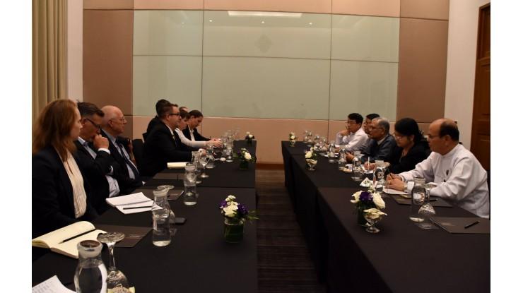 အဂတိလိုက်စားမှုတိုက်ဖျက်ရေးကော်မရှင် ဥက္ကဋ္ဌ ဦးအောင်ကြည် New Zealand နိုင်ငံမှ Deputy Secretary Mr. Ben King အား လက်ခံတွေ့ဆုံ