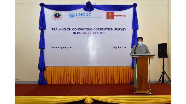 """Training on Conducting Corruption Survey in Business Sector"" သင်တန်းဖွင့်ပွဲပြုလုပ်ခြင်း"