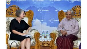 အဂတိလိုက်စားမှုတိုက်ဖျက်ရေးကော်မရှင် ဥက္ကဋ္ဌ ဦးအောင်ကြည် မြန်မာနိုင်ငံဆိုင်ရာ ဩစတြေးလျသံအမတ်ကြီး H.E. Ms. Andrea Faulkner အား လက်ခံတွေ့ဆုံ
