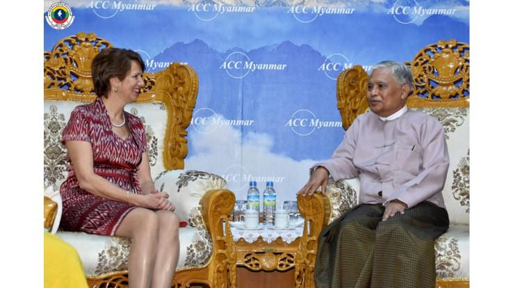 အဂတိလိုက်စားမှုတိုက်ဖျက်ရေးကော်မရှင် ဥက္ကဋ္ဌ ဦးအောင်ကြည် ကုလသမဂ္ဂအတွင်းရေးမှူးချုပ်၏ မြန်မာနိုင်ငံဆိုင်ရာ အထူးကိုယ်စားလှယ် Mrs. Christine Schraner Burgener ဦးဆောင်သော ကိုယ်စားလှယ်အဖွဲ့အား လက်ခံတွေ့ဆုံခြင်း